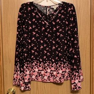 Pink Republic NWT Black Pink Floral Blouse Medium